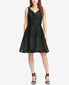 DKNY Embroidered Sweetheart Fit & Flare Dress, Created for Macy's