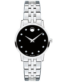 Movado Women's Swiss Museum Classic Diamond-Accent Stainless Steel Bracelet Watch 28mm