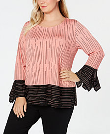 Alfani Plus Size Printed Colorblocked Top, Created for Macy's