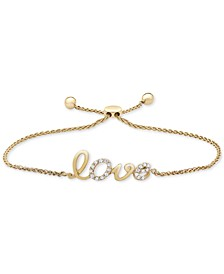 Wrapped™ Diamond Love Bolo Bracelet (1/10 ct. t.w.) in 14k Gold, Created for Macy's