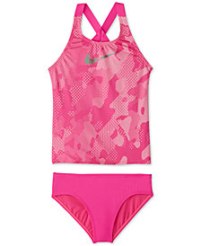 Nike Big Girls 2-Pc. Optic Camo Crossback Tankini