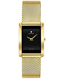 Women's Swiss La Nouvelle Gold-Tone PVD Stainless Steel Mesh Bracelet Watch 21x29mm