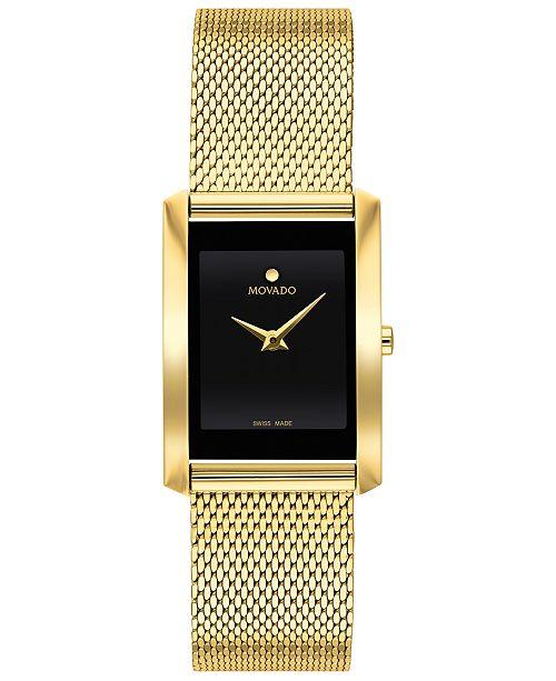 Movado Women's Swiss La Nouvelle Gold-Tone PVD Stainless Steel Mesh Bracelet Watch 21x29mm