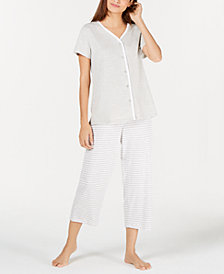 Charter Club Button-Front Cotton Knit Pajama Set, Created for Macy's
