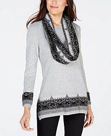 NY Collection Petite Jacquard Removable-Scarf Sweater