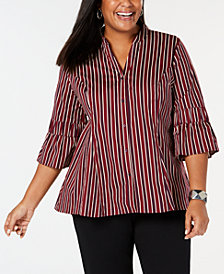 NY Collection Plus Size Striped Bell-Sleeve Shirt