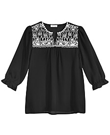 Monteau Big Girls Embroidered Top