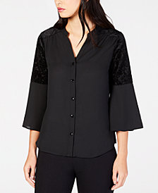 NY Collection Petite Bell-Sleeve Velvet-Burnout Blouse