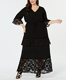 NY Collection Plus Size Lace-Trim Maxi Dress