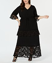 07da2acc505 NY Collection Plus Size Lace-Trim Maxi Dress
