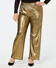NY Collection Plus Size Metallic Striped Wide-Leg Pants