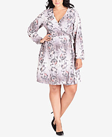 City Chic Trendy Plus Size Mixed-Print Faux-Wrap Dress
