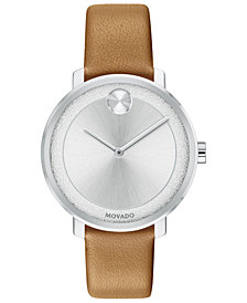 Movado Women's Swiss BOLD Camel Leather Strap Watch 34mm
