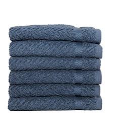 Linum Home Herringbone 6-Pc. Washcloth Set