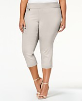 c6b44cd8181 Alfani Plus Size Tummy-Control Pull-On Capri Pants