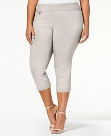 e2c03f57b1d Alfani Plus Size Tummy-Control Pull-On Capri Pants