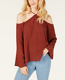 Material Girl Juniors' Printed Cold-Shoulder Top, Created for Macy's