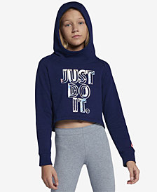 Nike Big Girls Cropped Just Do It Hoodie