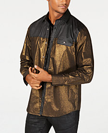I.N.C. Men's Colorblocked Metallic Shirt, Created for Macy's