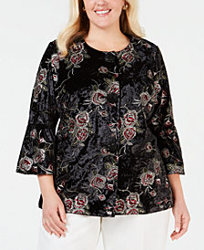 JM Collection Plus Size Embroidered Velvet Jacket, Created for Macy's
