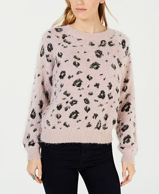 Freshman By Rdg Juniors Printed Fuzzy Pullover Sweater Sweaters