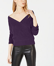 Bar III Surplice On or Off Shoulder Sweater, Created for Macy's