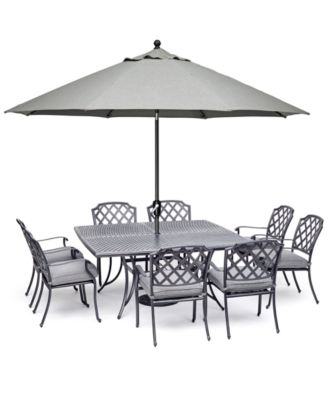 """Vintage II Outdoor Cast Aluminum 9-Pc. Dining Set (64"""" X 64"""" Table & 8 Dining Chairs) With Sunbrella® Cushions, Created for Macy's"""