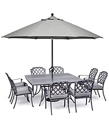 "Vintage II Outdoor Cast Aluminum 9-Pc. Dining Set (64"" X 64"" Table & 8 Dining Chairs) With Sunbrella® Cushions, Created for Macy's"