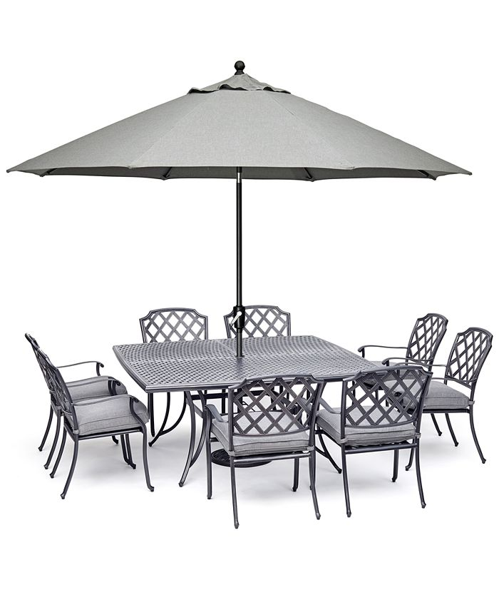 """Furniture - Vintage II Outdoor Cast Aluminum 9-Pc. Dining Set (64"""" X 64"""" Table & 8 Dining Chairs) With Sunbrella® Cushions, Created For Macy's"""