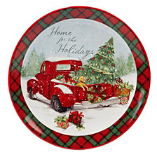 Certified International Home for Christmas Round Platter