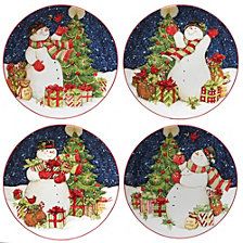 Certified International Starry Night Snowman 4-Pc. Dinner Plates asst.