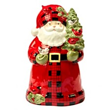 Certified International Winter's Plaid Santa 3-D Cookie Jar