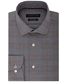 Tommy Hilfiger Men's Slim-Fit TH Flex Performance Stretch Non-Iron Navy Plaid Dress Shirt