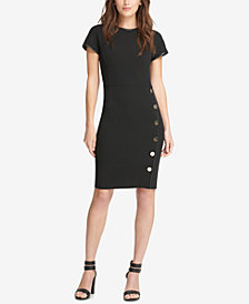 DKNY Sheath Dress With Faux-Leather Trim, Created for Macy's