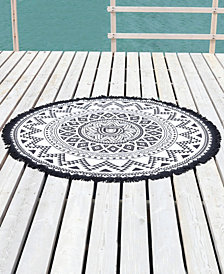 Linum Home Kilim Round Pestemal Beach Towel