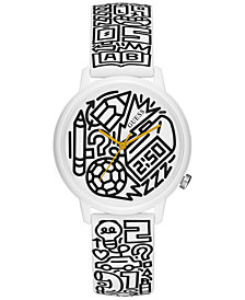 GUESS Women's Pencils of Promise & Timothy Goodman White Print Silicone Strap Watch 32mm, A Special Edition