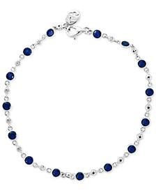 EFFY® Sapphire (2 ct. t.w.) & Diamond (1/6 ct. t.w.) Bracelet in 14k White Gold