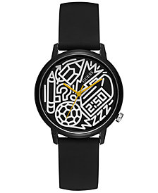 GUESS Women's Pencils of Promise & Timothy Goodman Black Silicone Strap Watch 32mm - A Special Edition