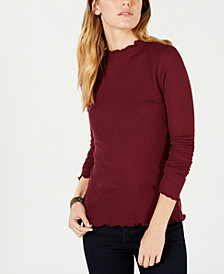 Hippie Rose Juniors' Rib-Knit Lettuce-Edged Top