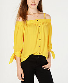 BCX Juniors' Off-The-Shoulder Tie-Cuff Top