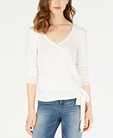 Ultra Flirt by Ikeddi Juniors' Ribbed Faux-Wrap Top