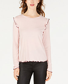 Ultra Flirt by Ikeddi Juniors' Ribbed Ruffled Top
