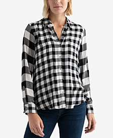 Lucky Brand Pleat-Back Mixed Plaid Top