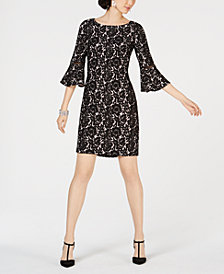 Jessica Howard Bell-Sleeve Lace Sheath Dress