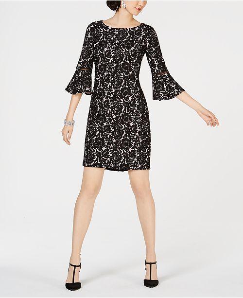 e77bde41 Jessica Howard Petite Lace Bell-Sleeve Dress & Reviews - Dresses ...
