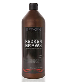 Redken Brews 3-In-1 Shampoo, Conditioner & Body Wash, 33.8-oz., from PUREBEAUTY Salon & Spa