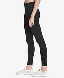 DKNY Sport Flocked-Logo High-Waist Leggings, Created for Macy's