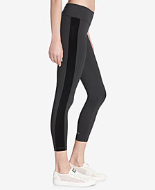 DKNY Sport Velvet-Stripe Ankle Leggings, Created for Macy's