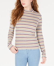 Hippie Rose Juniors' Striped Mock-Neck Top