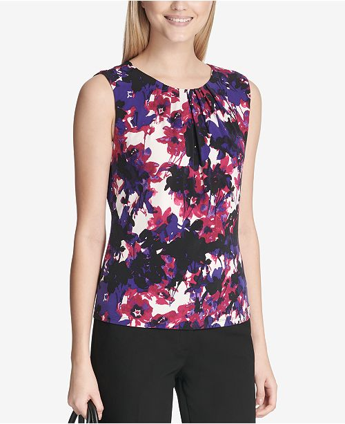 Calvin Klein Printed Pleat-Neck Blouse